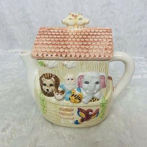 Noah's Ark Ceramic Tea Pot Giraffe Lion Birds Monk